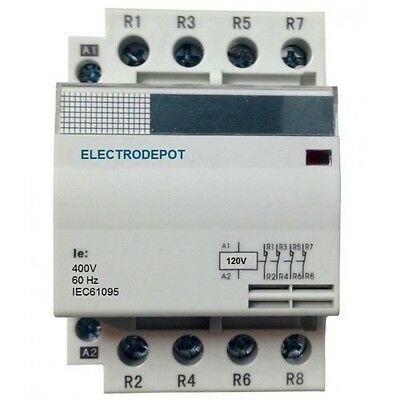 40A Contactor 4 Pole 110V 120V coil, 40 AMP Lighting Modular NO, 30a 32a IEC DIN