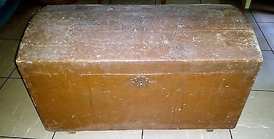 Primitive Antique Vintage Trunk Steamer Luggage Chest