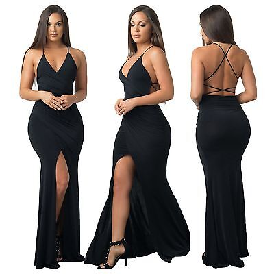 New black open back long evening prom cocktail wrap dress party wear Size UK 10