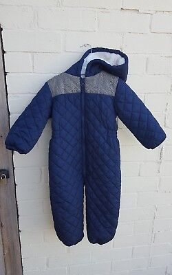 NEXT boys snowsuit 2-3 years navy blue quilted all in one