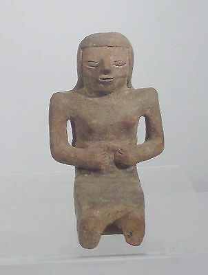 Antique Pre Colombian Pottery Figure of a Seated Woman