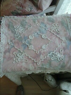 LOVELY Antique/Vintage French Tambour Lace Pillow Cover!!
