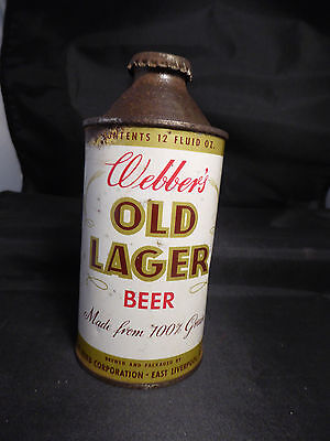 Webber's Old Lager Beer cone top 1950's ? Ohio