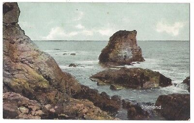 SHETLAND view of Rocky Outcrop, Old Postcard by Shurey, Unused