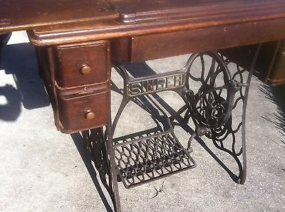Vintage  Singer  Treadle Sewing Machine With Oak And Iron Base Pick Up Only