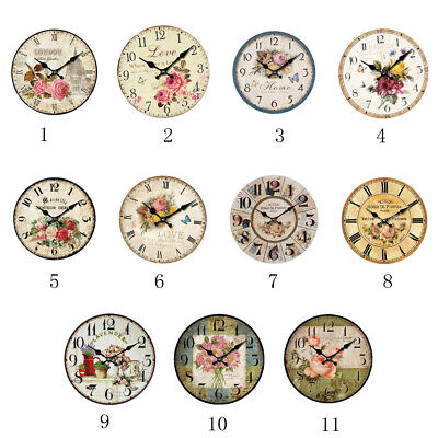 Vintage Wooden Wall Clock Large Shabby Chic Rustic Home Bedroom Decoration