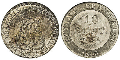 FRENCH GUIANA Louis Philippe 1846 A Billon 10 Centimes NGC MS66 KM A2