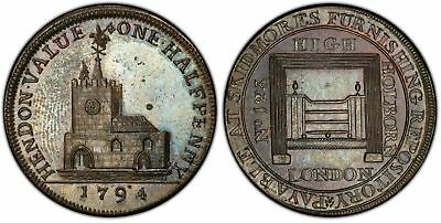 GREAT BRITAIN Middlesex 1794 CU Halfpenny Token PCGS MS63BN DH326; Conder w/tckt