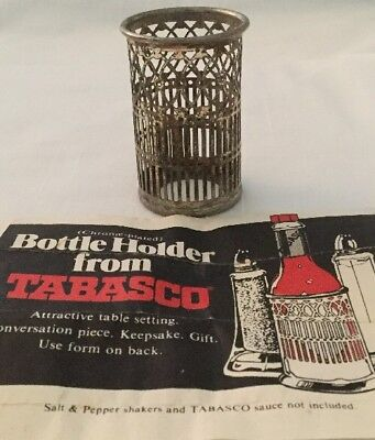 Tabasco Chrome Plated Tabasco Bottle Holder Original Ad included Circa 1981