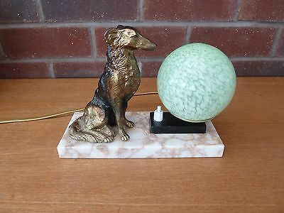 French Vintage/Art Deco Table Mood Lamp Sitting Bronzed Spelter Dog On Marble