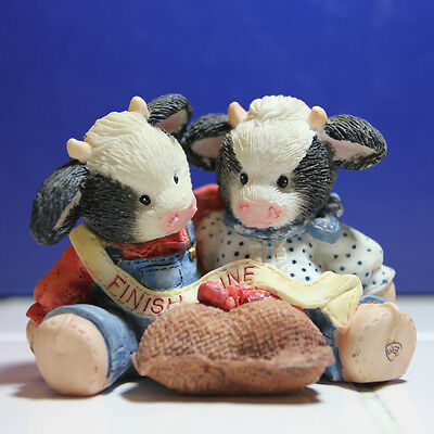 """MARY'S MOO MOOS Country Cow Figurines 1994 """"We Make A Great Team"""""""