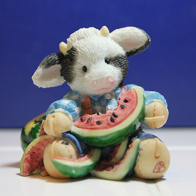 """MARY'S MOO MOOS Country Cow Figurines 1994 """"Udderly Refreshing"""""""
