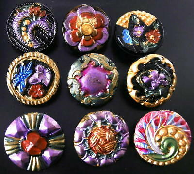 Collection of 9 Czech ANTIQUE (1920's) Glass Buttons #G680 - RARE !!!!!!!!!!!!!
