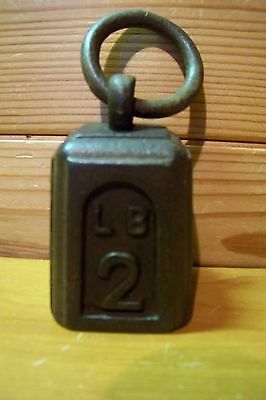 VINTAGE 2lb RING TOP CAST IRON WEIGHT