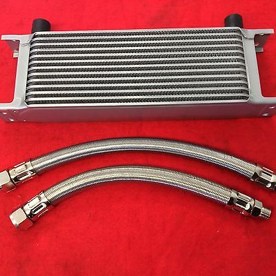 Classic Mini 13 Row Oil Cooler & Pair Of Braided Stainless Steel Hoses Kit