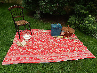 Antique New England Turkey Red Victorian Era Table Cloth Covering ID'd