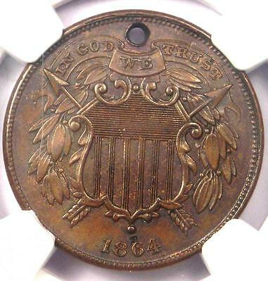 """1864 """"Small Motto"""" Variety Two Cent Coin 2C - NGC Uncirculated Details (UNC MS)"""