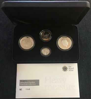 2008 UK Royal Mint Piedfort Silver 4 Coin Proof Set In Original Box With COA