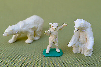 3 Polar Bears - 2 Adult, 1 Cub - Made By Britains