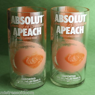 Absolut Peach Glass Set Of 2 Made From Original 1 Liter Bottles