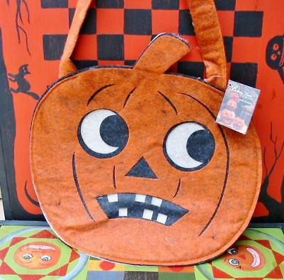 Bethany Lowe Halloween Felt Trick or Treat Bag Jack O'lantern Large