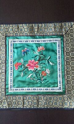 Vintage Chinese Silk Embroidery Panel Square FIoral