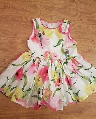 baby girls TED BAKER floral parrot dress age 12 18 months