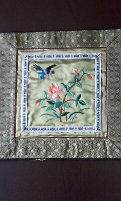 Vintage Chinese Silk Embroidery Panel Square Bird