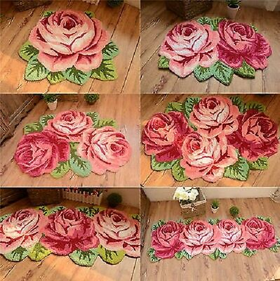 NEW Country Style Roses Floral Hand Embroidery Non-skid Floor Runner/mat/rug