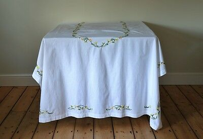 Very Large Vintage White Tablecloth Hand Embroidered Flowers Garland