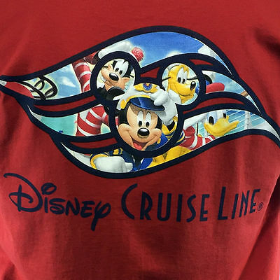 Disney Cruise Line Men's T-shirt - Mickey and Friends -All aboard! Size: Large