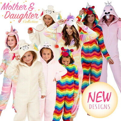 1Onesie Mother Daughter Sister Family Matching Fleece All In One Pyjama Set New