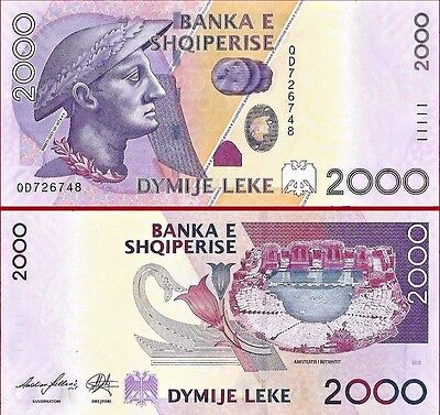 Albania 2000 leke Paper Money, Banknote of 2012. PICK 74. UNC
