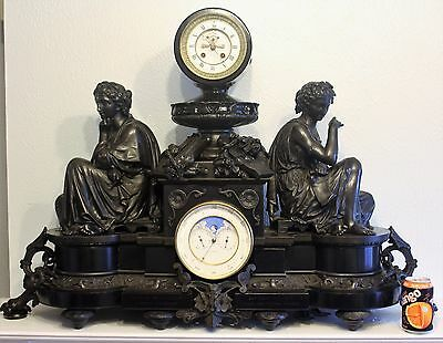 Antique french clock perpetual calendar marble bronze massive  MIROY PARIS