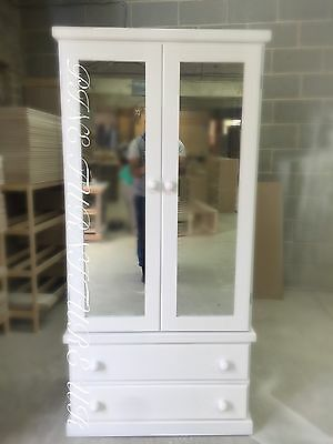New Handmade Glass painted White Double Mirror Cambridge Wardrobe (Assembled)