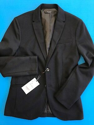 NWT ZARA MAN Daily Outfit Blue Textured Jacket S. 2 Button Single Vent Blazer.