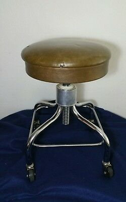 PEDIGO Rolling Stool - Chrome, Brown - Doctor Dentist Tattoo Barber Lab