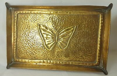 Brass Hammered Arts & Crafts Tray With Butterfly Decoration