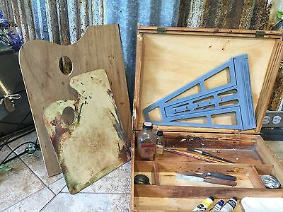 Vintage Wooden Artist's Painter's Dovetailed Box With Palettes