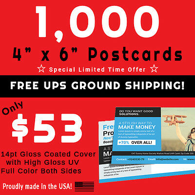 1,000 Postcards • Full Color • PRESS PRINTED • Gloss UV Coated • FREE SHIPPING!