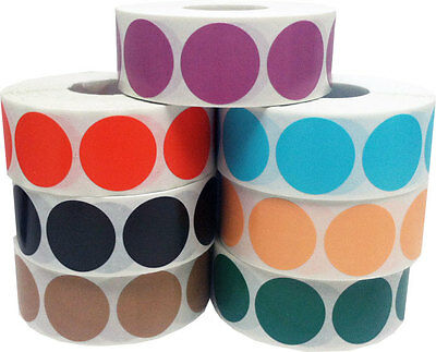 Circle Dot Stickers, 1 Inch Round, 500 Labels on a Roll, 54 Color Choices
