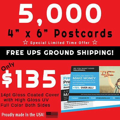 5,000 Postcards • Full Color • PRESS PRINTED • Gloss UV Coated • FREE SHIPPING!