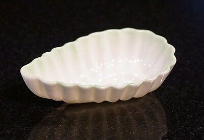 Beautiful Belleek Black Mark Leaf Salt Dish