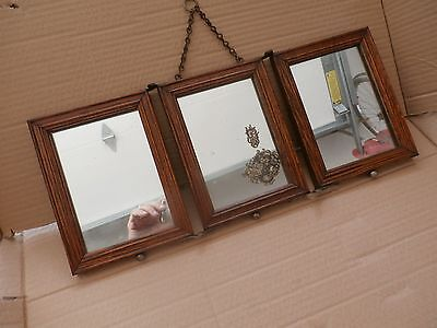Antique solid oak frame tri fold mirrors