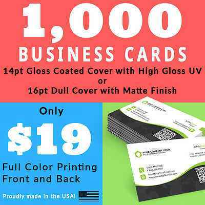 1,000 Business Cards • Full Color • PRESS PRINTED • Gloss UV • FREE SHIPPING!