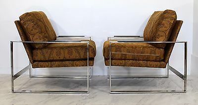 Mid Century Modern Pair of Chrome Cube Lounge Chairs Baughman Style