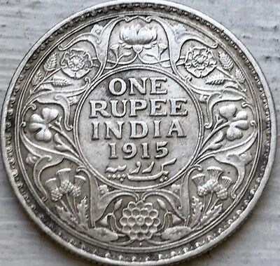 Key Date 1915 Silver British India One Rupee Coin .917 Silver King George V