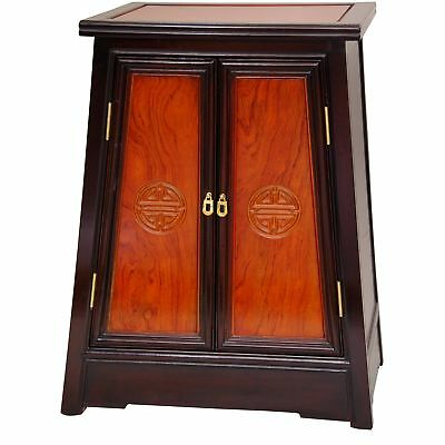 Oriental Furniture Rosewood Long Life Cabinet - Two-tone