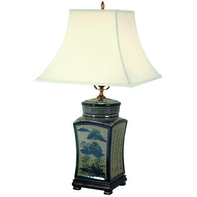 """Oriental Furniture 25"""" Blue & White Chinese Calligraphy Porcelain Lamp"""