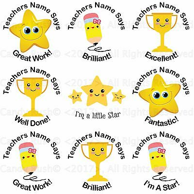 70 Personalised Reward Teacher Stickers Merit School For Pupil Labels Gift